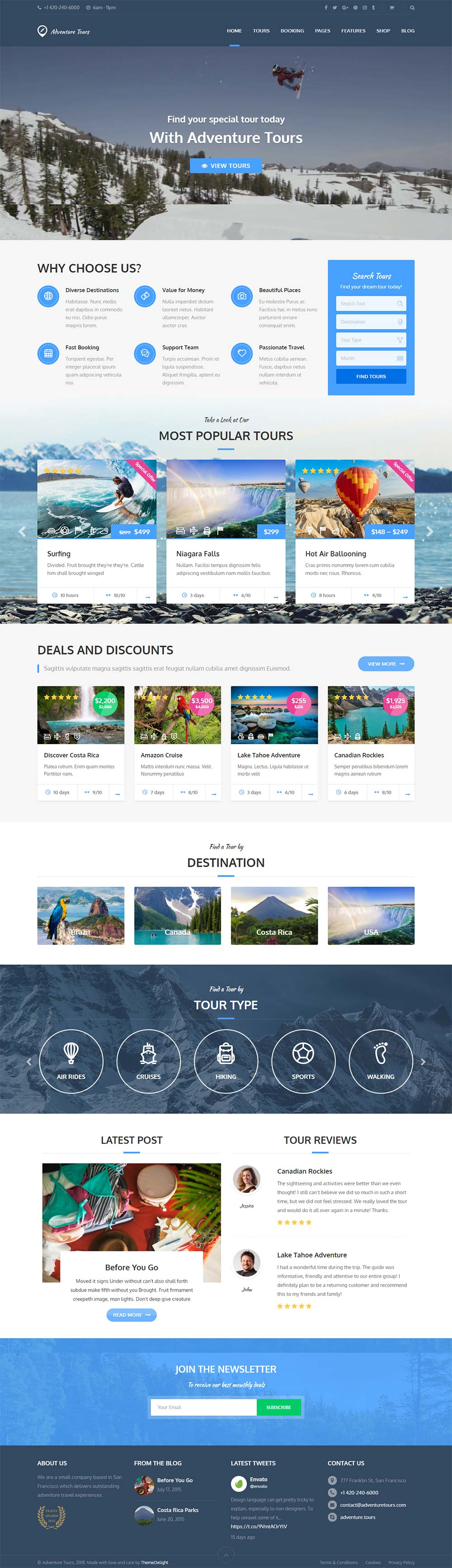 Mẫu website du lịch Adventure Tours