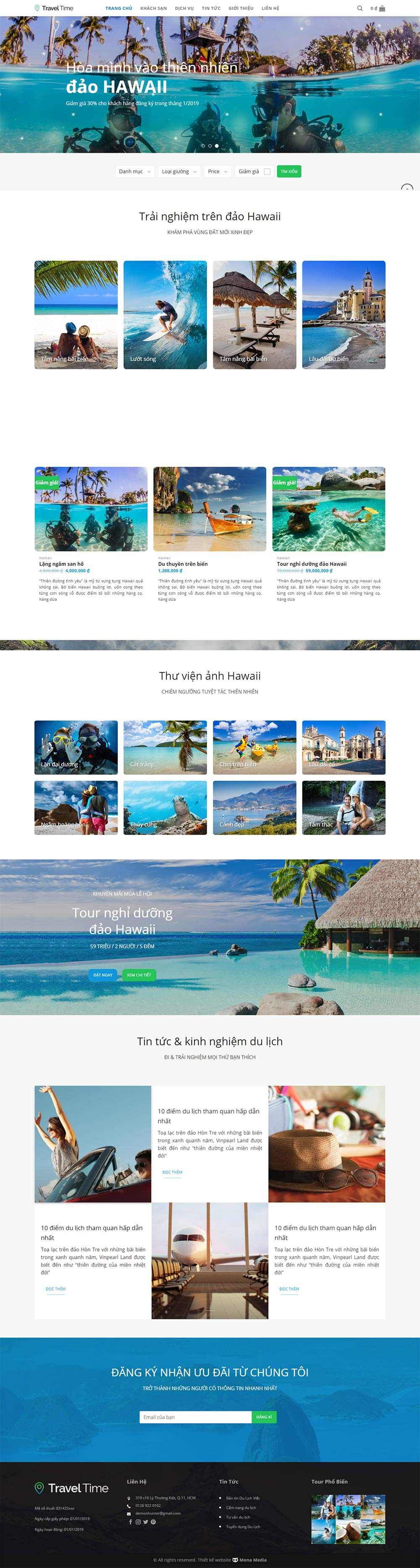 Mẫu website du lịch Travel Time